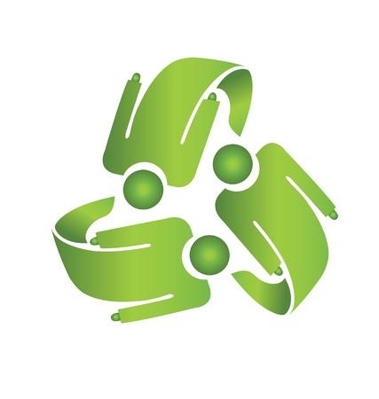 Teamwork recycle Männer logo vector Standard-Bild - 18651713
