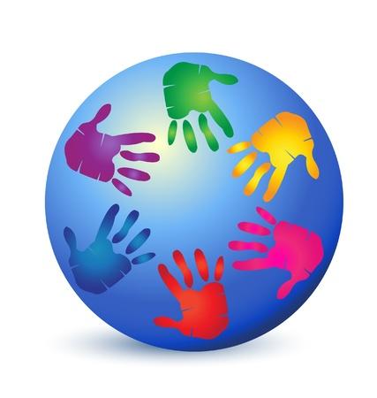 Handen op wereld