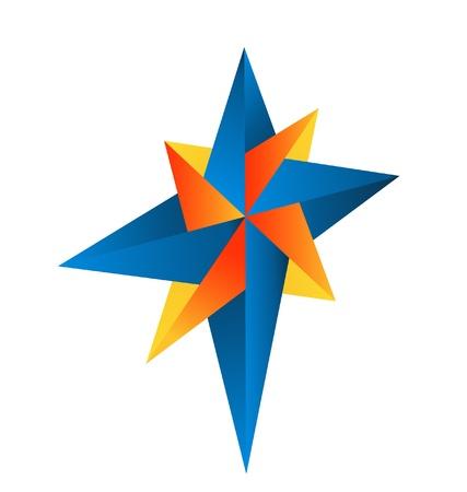 抽象的なコンパス ローズのロゴ