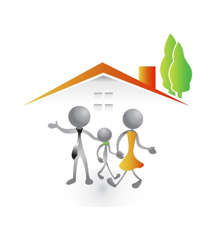 housing estate: Family and new house logo vector