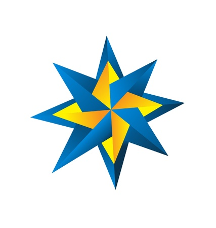 Compass rose in blue and orange logo vector Ilustração