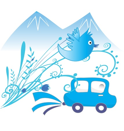 poison sea transport: Car ecological and pure air background