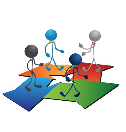 People figures and business arrows