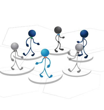 People figures and business blocks Vector