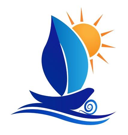 pirag�ismo: Barco hoja y el logotipo creativo dom. Vectores