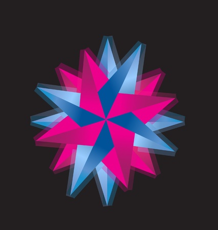 compass rose: Pink and blue abstract compass rose logo vector