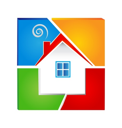 House and swirly chimney colorful logo Vector