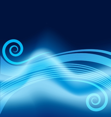 Blue wavy scrolls abstract background