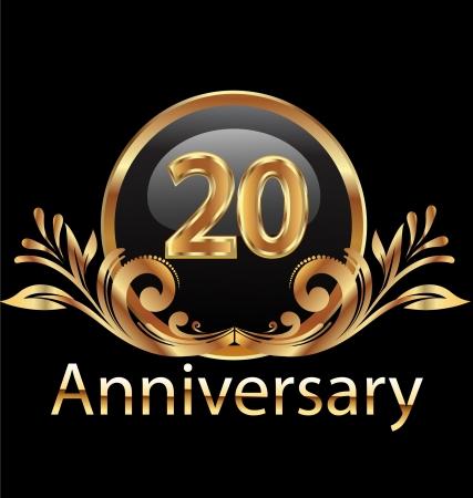 anniversario di matrimonio: 20 anni compleanno, anniversario in oro Vettoriali