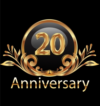 20 years anniversary birthday in gold  Vector