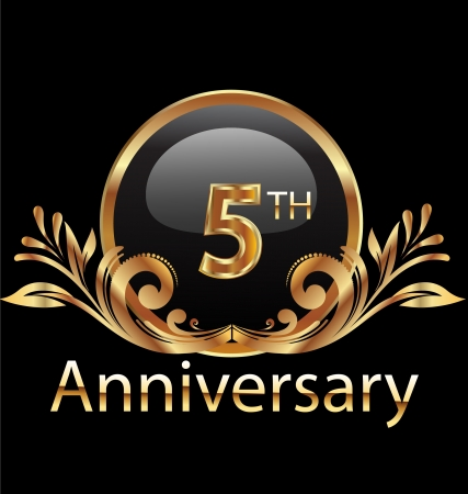 5 years anniversary birthday in gold  Vector