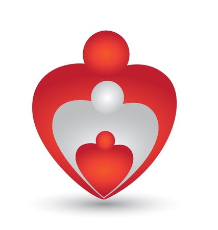 holy family: Family hearts icon vector