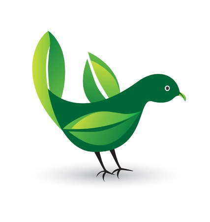 Bird with ecological leafs vector Vector