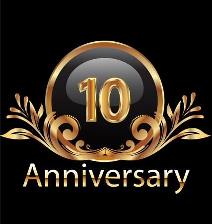 anniversary card: 10 years anniversary birthday in gold