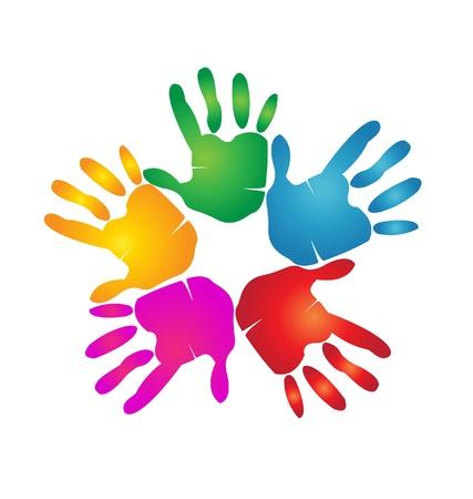 unificar: Manos de trabajo en equipo con colores vivos Vectores