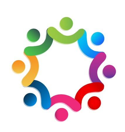 swooshes: Teamwork charity people vector
