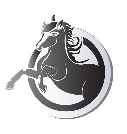 Black horse silhouette icon vector