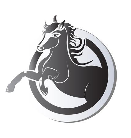 Black horse silhouette icon vector