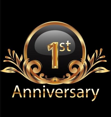 1 ° anno anniversario compleanno in oro Archivio Fotografico - 19143183