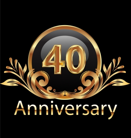 40 years anniversary birthday in gold   Vector