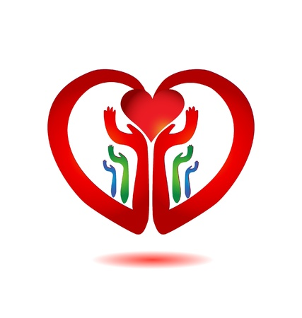 unify: Hands holding a heart icon vector
