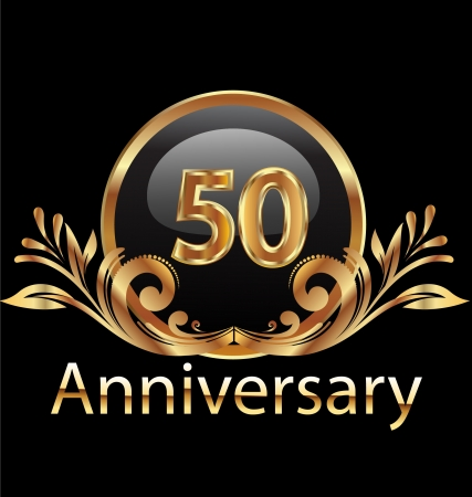 50 years anniversary birthday in gold   Vector