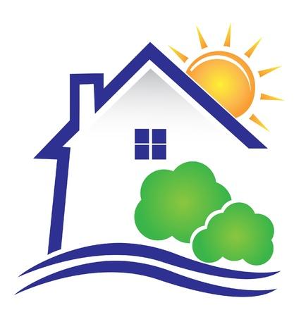 case moderne: Casa sole e cespugli di icone vettoriali Vettoriali