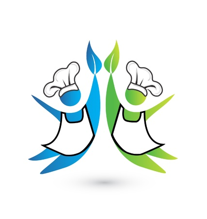 Cookers teamwork icon vector Illustration