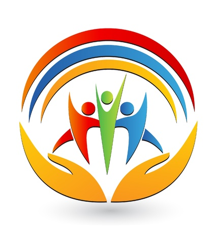 societies: Teamwork with hands and connections icon vector