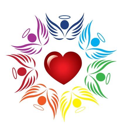 Teamwork angels around heart icon vector Vettoriali