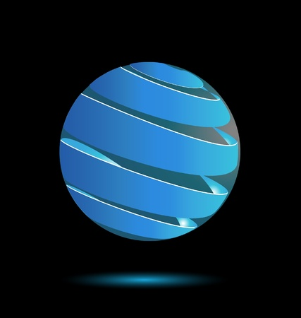 Abstract blue bubble 3d icon design vector  Ilustracja