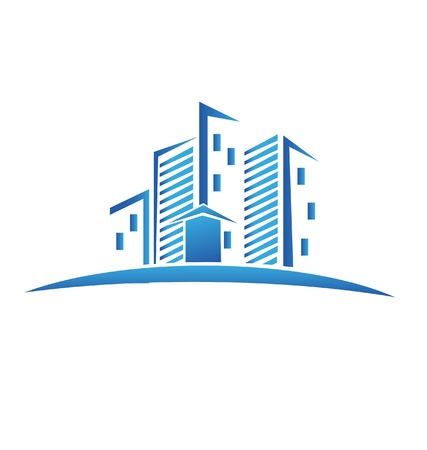Skyline buildings real estate icon  Vector
