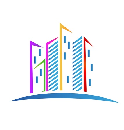 Buildings colorful Real estate icon Stock Vector - 19475673
