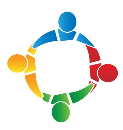 четыре человека: Работа в команде четыре человека вокруг Иллюстрация