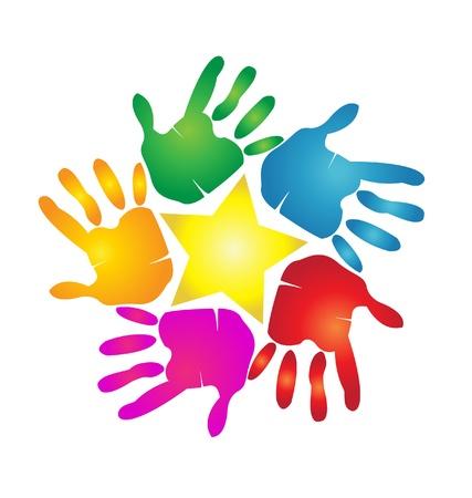 Hands print around a star
