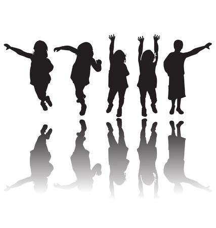 enfants dansant: Enfants heureux silhouettes
