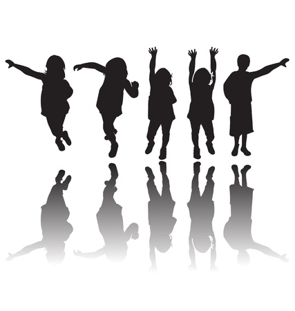 Happy children silhouettes  Illustration