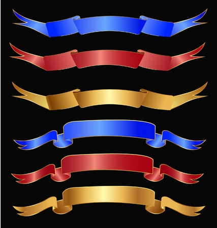 Set of ribbons in gold, red and blue colors Vector