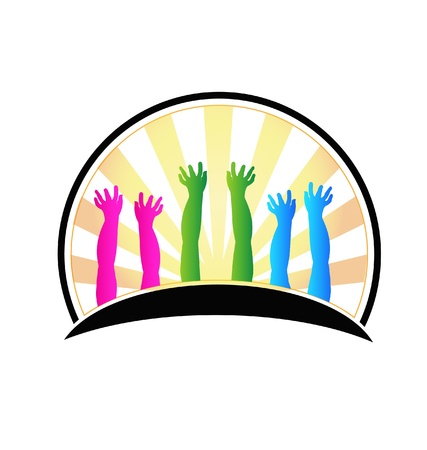 Hands of happy children Vector