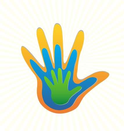 Family hands protection logo  イラスト・ベクター素材