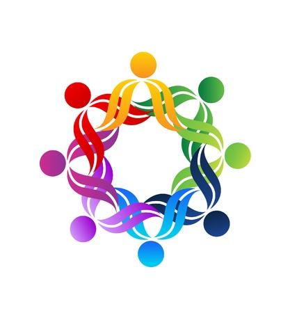 naciones unidas: Personas Trabajo en equipo en una ilustraci�n vectorial abrazo Vectores