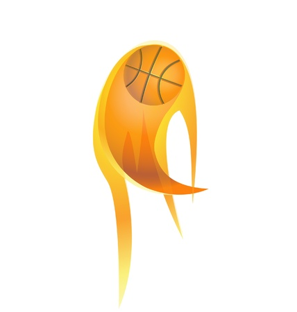 Basketball on fire vector Vector