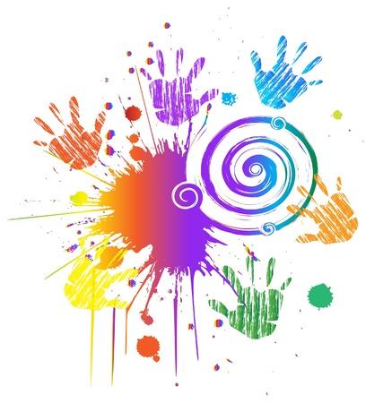 Manos y tinta grunge estilo swirly vector coloreado
