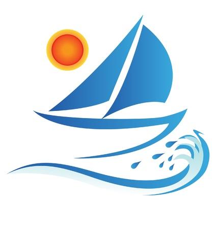 bateau: vagues de bateaux et vecteur soleil