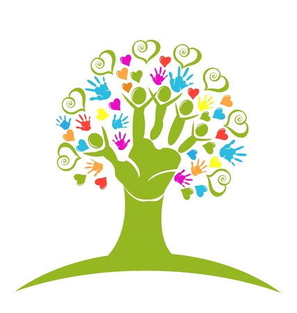 pact: Tree hands and hearts figures vector