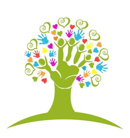 10 fingers: Tree hands and hearts figures vector