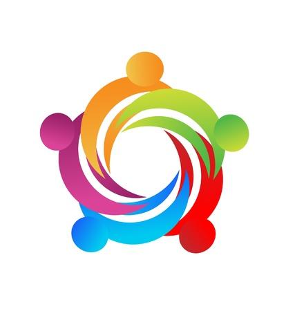 Teamwork mensen in een knuffel logo vector