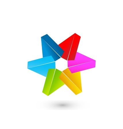 Colored 3D star vector