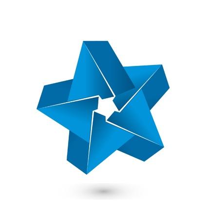 3D blauwe ster logo vector