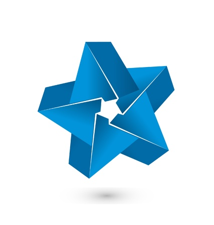 3D blue star logo vector  Vector